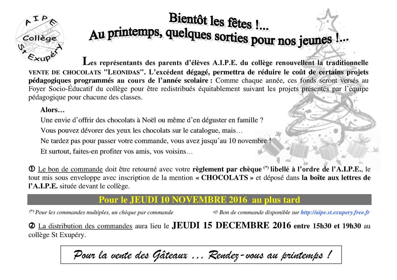 Achat groupé chocolats Noël 2016